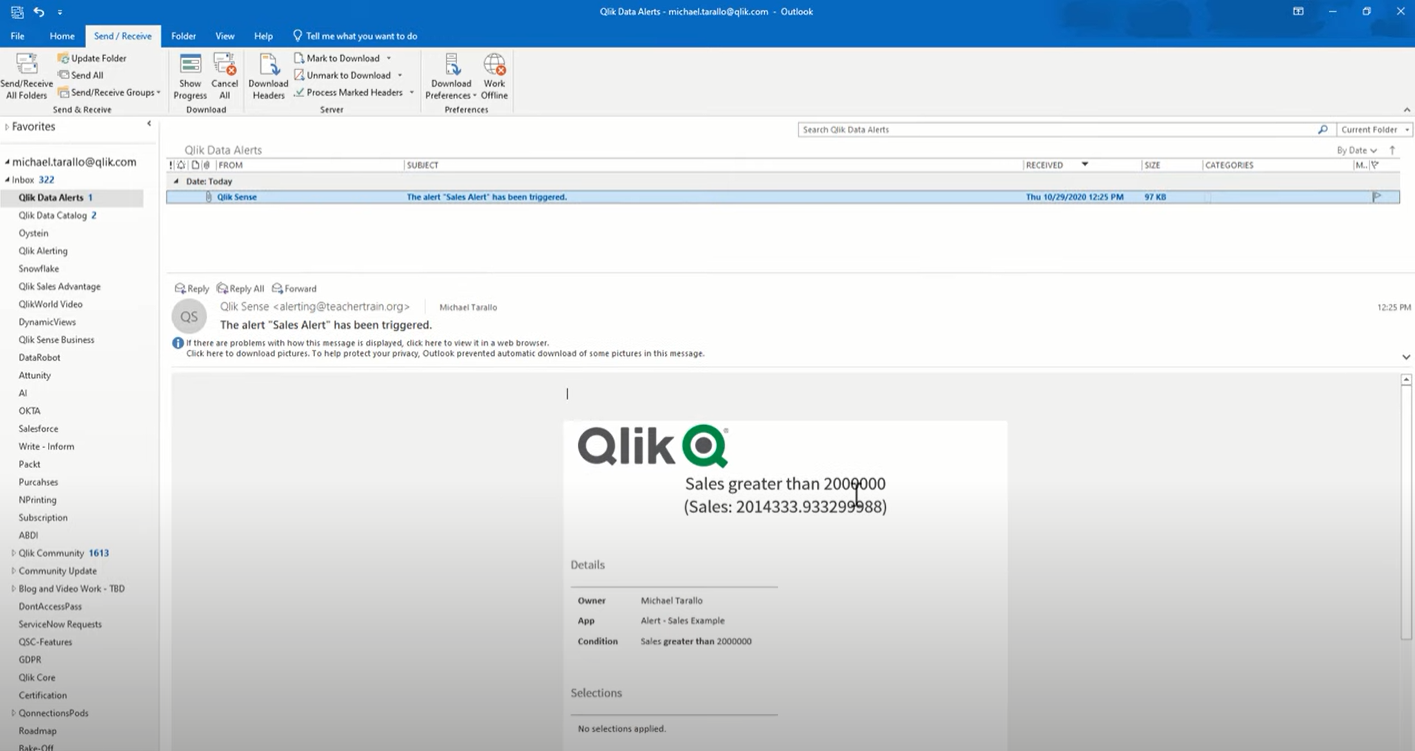 1. Qlik Alerting Video 2 minutul 5.18 - exemplu de alerta pe email
